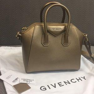 Givenchy Mini Antigona Satchel in Gold